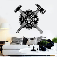 Vinyl Wall Decal Fire Dept Shield Firefighter Stickers Mural Unique Gift (ig4449)