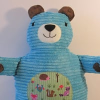 The Turquoise Bear. Buttery Soft Chenille with soft corduroy belly.
