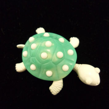 Trifari Jewelry Turtle Pin Turquoise White Enamel Lucite Vintage Gold Plate Brooch