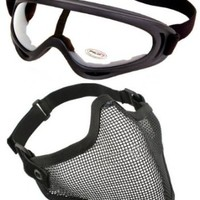 2 in 1 Protection Steel Face Mask with X400 Clear Lens Goggles Airsoft Paintball Set
