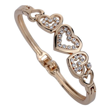 "Jewelry Cute Rose Gold Five Hollow Heart Carve Crystal Charming Bangle Bracelet Women 2.2"" (Color: Gold) = 1946480644"
