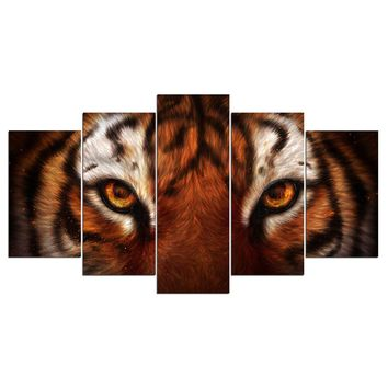 Tiger Face Wall Art Canvas 5 Panel Piece Print Picture KhaliaArt
