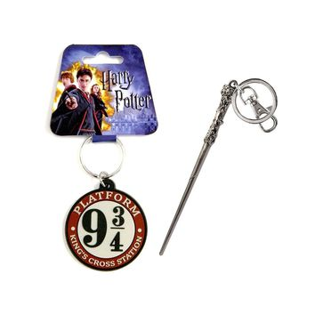 Novelty Character Accessories Harry Potter Harrys Wand Pewter Key Chain and Disney Harry Potter Platform 9 3/4 Kings Cross Stati