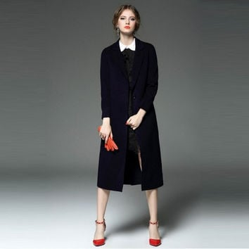 Women's Winter Slim Fit Lapel Long Wool Trench Coat Jacket with One Button