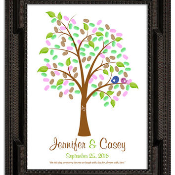 fingerprint guest tree, Love Birds, Wedding Poster, Thumbprint Stamp Tree guest book, THUMBPRINT TREE, 20x24 num.140