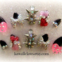 Party Time Spiked Glitter Nails Pink and Black 3D Stiletto Tip False/Fake Full cover claw Nails gyaru glam