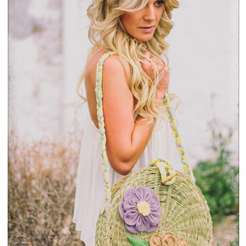 Esparto Grass Handmade Round Handbag - Purple and Brown appliquéd flower motifs