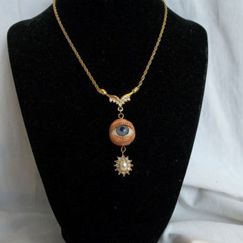 Creepy Glass Antique Eyeball Eye Gold tone Clear Rhinestones Elegant Necklace
