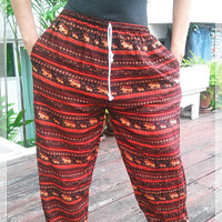 Red Elephant Yoga Pants Baggy Boho Printed Hippie Gypsy Tribal Aladdin Clothing Beach Casual Tank Trousers Dress Wild Legs Unisex Hobo