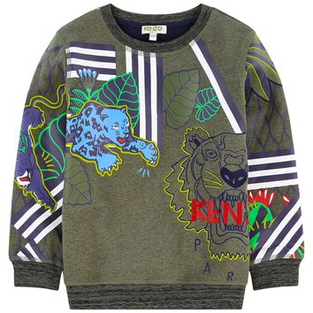 Kenzo Boys Green Jungle Tiger Logo Sweatshirt