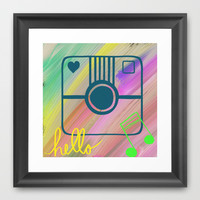 Hello hello smile, abstract art, painting, mixed media,by healinglove Framed Art Print by Healinglove Art Products