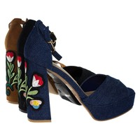 Spirit16S By Bamboo, Stitching Floral Embroidery On High Chunky Block Heel Platform Sandal