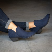 Side Cutout Booties - Navy