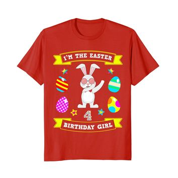 Dabbing Easter Bunny 4th Birthday Shirt for 4 Year Old Girls