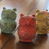 Dresser Knobs/ Owl Drawer Knobs/ Multi Color Drawer Pulls/ Whimsical/ Cupboard Knobs/ Drawer Handles/ Nursery