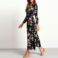 Boho Maxi Dresses Navy Round Neck Long Sleeve With Button Floral Long Party Dress