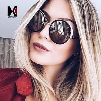SHAUNA Vintage Oversize Women Round Steampunk Sunglasses Fashion Pearlized Decoration Men Punk Coating Sun Glasses Shade UV400