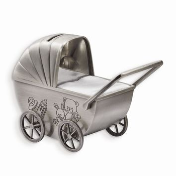 Baby Carriage Engraving Plate Metal Bank - Engravable Personalized Gift Item