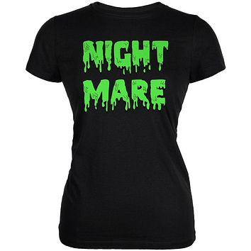 Halloween Nightmare Horror Slime Dripping Text Juniors Soft T Shirt