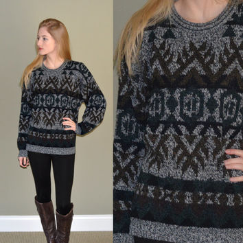 Vintage Tribal Aztec Sweater Michael Gerald Mens Womens Oversize Sweater Soft Tumblr Grunge Hipster Jumper