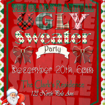 UGLY SWEATER INVITATION - Christmas Party Invite - Holiday Party  Vintage Christmas  Ugly Christmas Sweater  Tacky Sweater Party Invitations