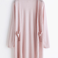 Pink Open Front Ribbed Pocket Cardigan