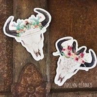 Floral Bull Skull Stickers