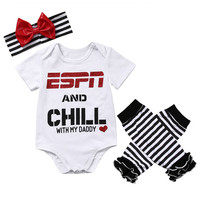 newborn baby Girls clothing set  ESPN and Chill with My Daddy Romper Jumpsuit Leg Warmers Headband Outfit