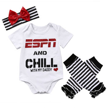 Newborn Toddler Baby Girls Boy Short Sleeve Letter Printed Tops Romper+Striped Leg Warmer Bownot Headband 3Pcs Outfit Set