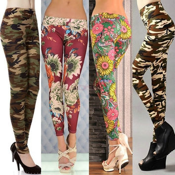 Women Colorful Floral Printed Camouflage Color Sanding Stretch Legging Ankle Full Length Pants SV003459 Trousers One size = 1745571332