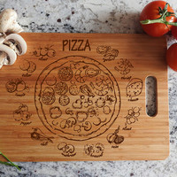 ikb20 Personalized Cutting Board Wood pizza ingredients Italian food kitchen pizzeria