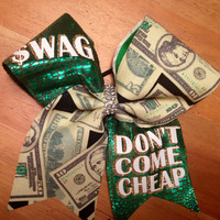 Cheerbow , cheerleader , cheer  bows , Bella bows , swag cheer bow , money cheer bow , green cheer bow