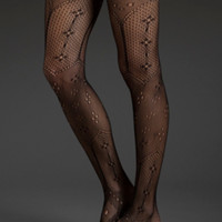 Woven Tights With Flowers