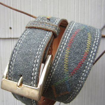 Vintage Southwestern Leather Belt by Nocona, 70-81 cm / 27-32 in // Fabric Covered Cowboy Belt