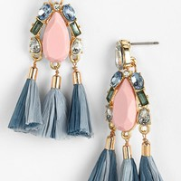 Women's Missing Piece 'Raffia Tassel' Mixed Media Drop Earrings
