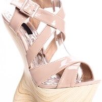 NUDE FAUX PATENT LEATHER CRISS CROSS CURVE HEEL LESS WEDGES