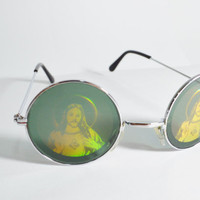 Jesus Hologram Sunglasses Round Psychedelic Hippie Trippy Men Women Novelty Glasses Retro Inspired Holographic