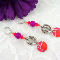 Neon dangle earrings, bright earrings, pink and orange and purple earrings , abstract earrings