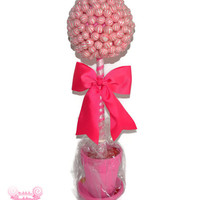 Large Pink Lollipop Candy Topiary, Baby Shower Decor, Pink Wedding, Candy Centerpiece, Lollipop Centerpiece, Lollipop Topiary, Candy Topiar