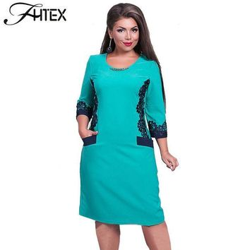 CREYU3C Plus Size 6XL Women Clothing New O Neck Lace Patchwork Color Block Big Size Shift Dress Autumn Winter Casual Bodycon Dress