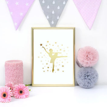 Ballerina Print, Real Gold Foil Print, Gold Ballerina, Ballet Dancer, Nursery Decor, Girls Room Decor, Ballet Wall Art, Bedroom Poster, 8x10