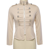 Turtleneck Long Sleeve with Button Accent Zip Up Jacket