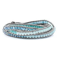 Crystal And Genuine Blue Quartz Beaded Leather Multi-Wrap Bracelet