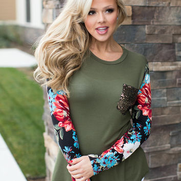 When it Comes to You and I Floral Long Sleeve Top Olive