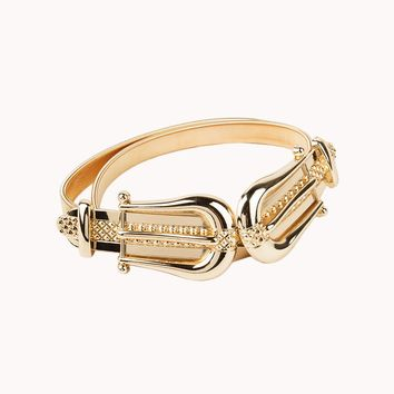 Metallic Stretch Coil Fashion Belt with Dual Buckles in Gold
