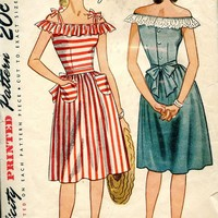 40s Dress Pattern Off the Shoulder Summer Dress 4 Young Women Bust 32