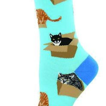 Socksmith Cats In Boxes Women's Socks - Blue