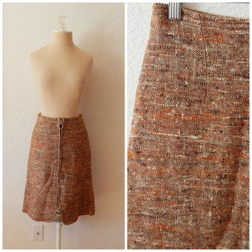 Vintage 60s 70s Mod Orange Tweed Italian Wool Zip Front Pencil Skirt XSmall