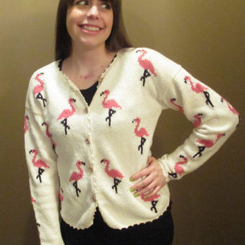 White Cardigan w/ Flamingo Pattern and Wooden Buttons