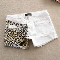 A 073001 Stitching Slim hip sexy leopard small hole shorts